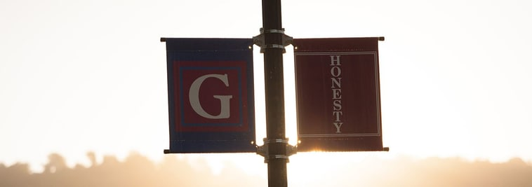 The Gow School campus light banners